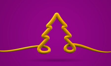 Bright yellow and purplel Christmas tree line art background. 3D Render Reklamní fotografie