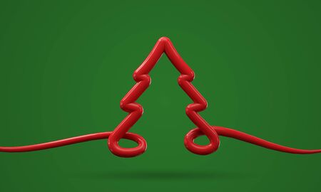 Festive red and green minimal Christmas tree background. 3D Render