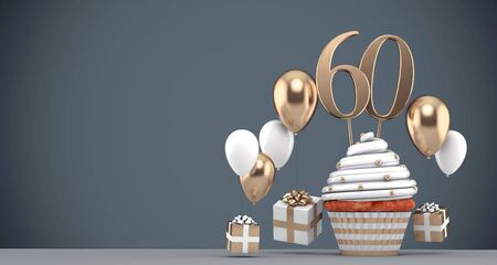 Number 60 gold birthday cupcake with balloons and gifts. 3D Render Reklamní fotografie