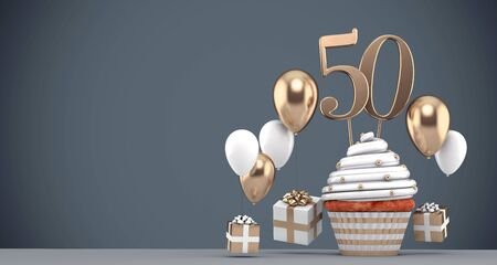 Number 50 gold birthday cupcake with balloons and gifts. 3D Render