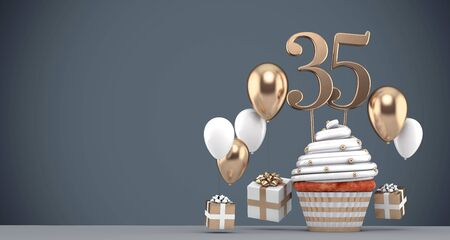 Number 35 gold birthday cupcake with balloons and gifts. 3D Render