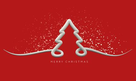White and red minimal festive Christmas tree background. 3D Render