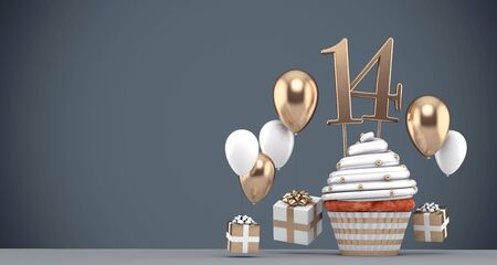 Number 14 gold birthday cupcake with balloons and gifts. 3D Render Reklamní fotografie