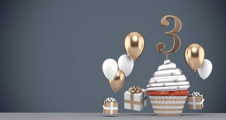 Number 3 gold birthday cupcake with balloons and gifts. 3D Render