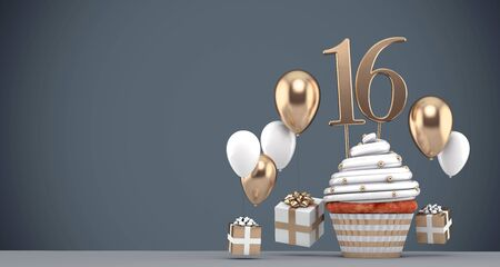 Number 16 gold birthday cupcake with balloons and gifts. 3D Render Reklamní fotografie