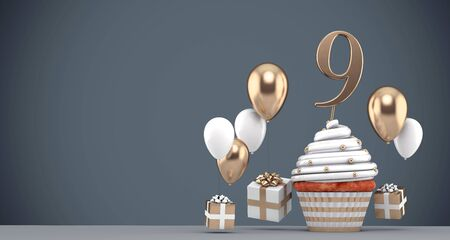 Number 9 gold birthday cupcake with balloons and gifts. 3D Render