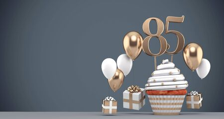Number 85 gold birthday cupcake with balloons and gifts. 3D Render