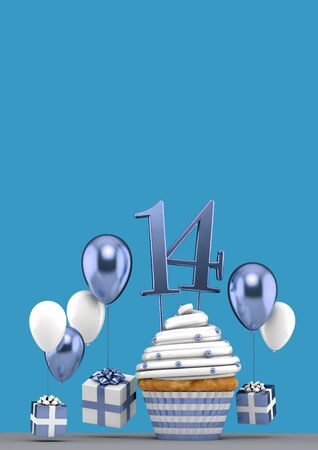 Number 14 blue birthday cupcake with balloons and gifts. 3D Render