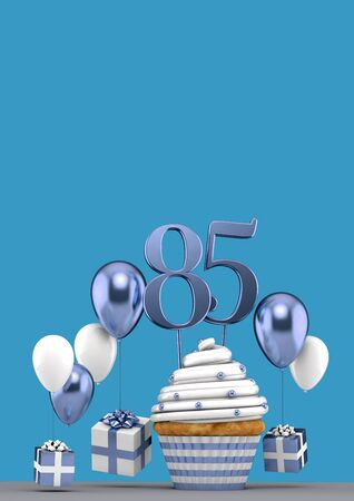 Number 85 blue birthday cupcake with balloons and gifts. 3D Render
