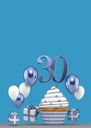 Number 30 blue birthday cupcake with balloons and gifts. 3D Render