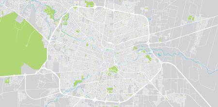 Städtischer Vektorstadtplan von Cordoba, Argentinien Vektorgrafik