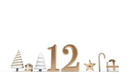 The 12 days of christmas. 12th day festive background. 3D Render Stock Photo