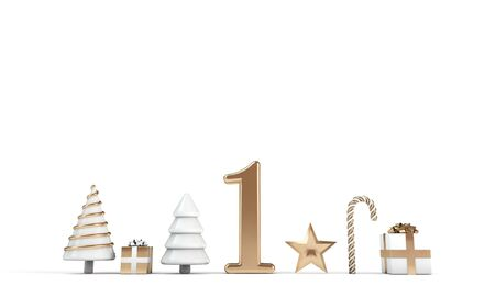 The 12 days of christmas. 1st day festive background. 3D Render Stock Photo