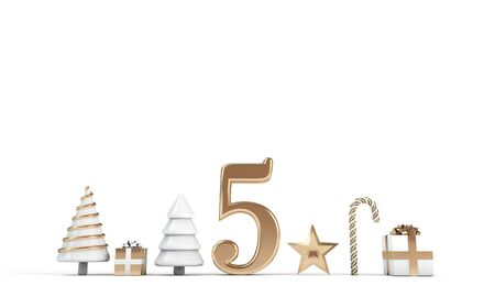 The 12 days of christmas. 5th day festive background. 3D Render Stock Photo