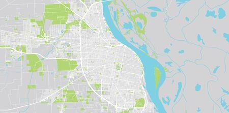 Urban vector city map of Rosario, Argentina