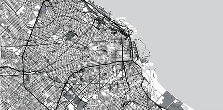 Urban vector city map of Buenos Aires, Argentina Vektoros illusztráció