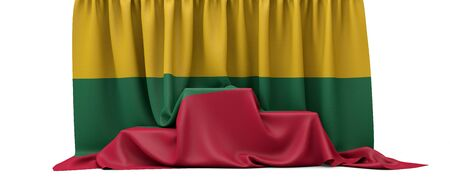 Lithuania flag draped over a competition winners podium. 3D Render