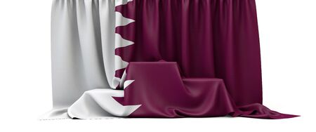 Qatar flag draped over a competition winners podium. 3D Render
