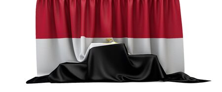 Egypt flag draped over a competition winners podium. 3D Render