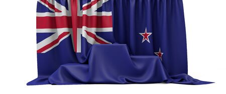 New Zealand flag draped over a competition winners podium. 3D Render