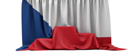 Czech Republic flag draped over a competition winners podium. 3D Render