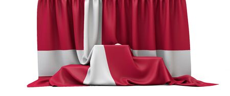 Denmark flag draped over a competition winners podium. 3D Render
