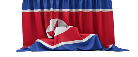 North Korea flag draped over a competition winners podium. 3D Render