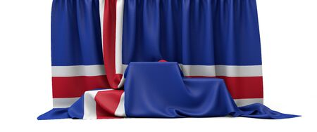 Iceland flag draped over a competition winners podium. 3D Render