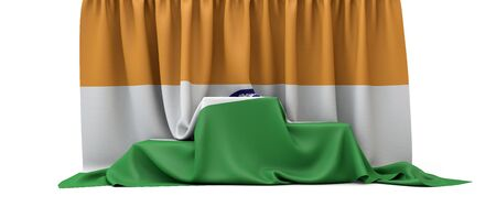 India flag draped over a competition winners podium. 3D Render Standard-Bild