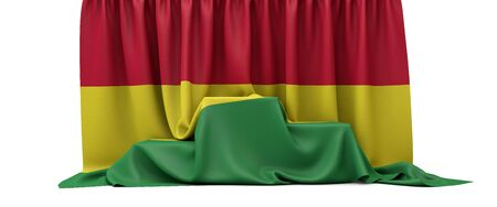 Bolivia flag draped over a competition winners podium. 3D Render