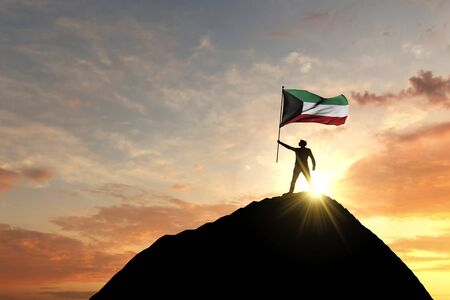Kuwait flag being waved at the top of a mountain summit. 3D Rendering Reklamní fotografie