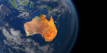 Crise des incendies de forêt en Australie. Carte des incendies en Australie. Rendu 3D