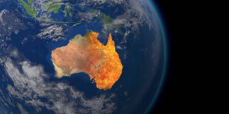 Kryzys pożarowy w Australii. Mapa pożarów Australii. Renderowanie 3D