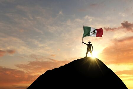 Mexico flag being waved at the top of a mountain summit. 3D Rendering