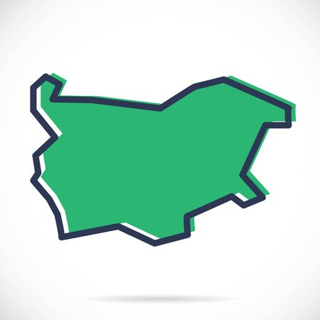 Stylized simple outline map of Bulgaria