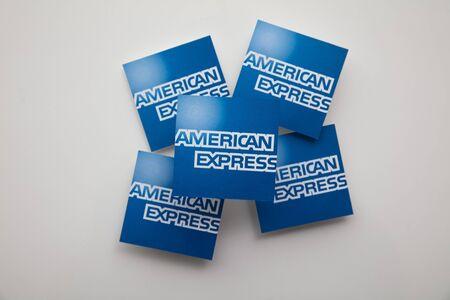 LONDON, UK - January 15th 2020: American express brand logo printed onto paper