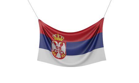 Serbia national flag hanging fabric banner. 3D Rendering Stok Fotoğraf