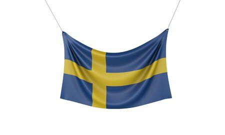 Sweden national flag hanging fabric banner. 3D Rendering