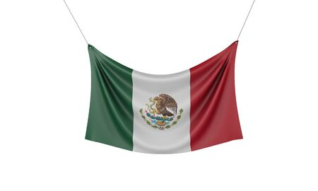 Mexico national flag hanging fabric banner. 3D Rendering Stok Fotoğraf