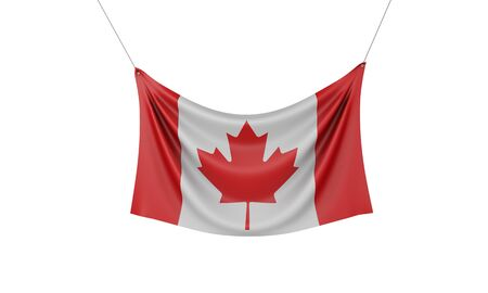 Canada national flag hanging fabric banner. 3D Rendering