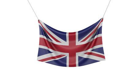 United Kingdom national flag hanging fabric banner. 3D Rendering