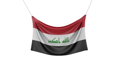 Iraq national flag hanging fabric banner. 3D Rendering