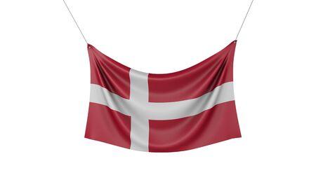 Denmark national flag hanging fabric banner. 3D Rendering