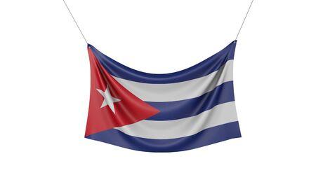 Cuba national flag hanging fabric banner. 3D Rendering