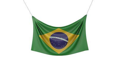 Brazil national flag hanging fabric banner. 3D Rendering