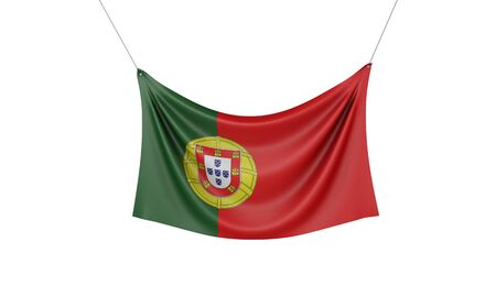 Portugal national flag hanging fabric banner. 3D Rendering