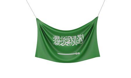Saudi Arabia national flag hanging fabric banner. 3D Rendering