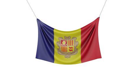 Andorra national flag hanging fabric banner. 3D Rendering