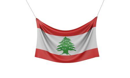 Lebanon national flag hanging fabric banner. 3D Rendering