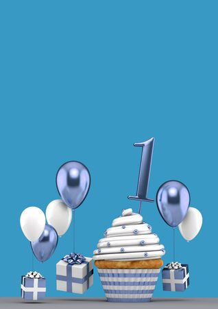 Number 1 blue birthday cupcake with balloons and gifts. 3D Render